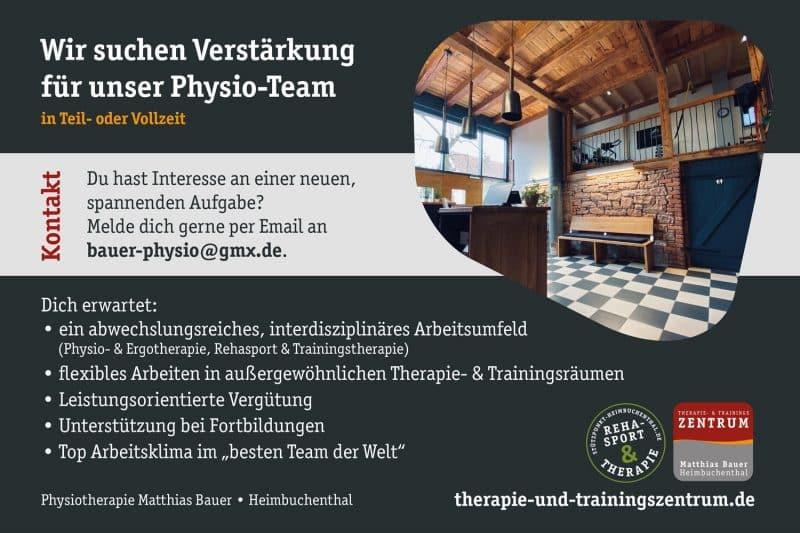 Therapie- & Trainingszentrum - Stützpunkt - Stellenanzeige - Physiotherapeut - Heimbuchenthal